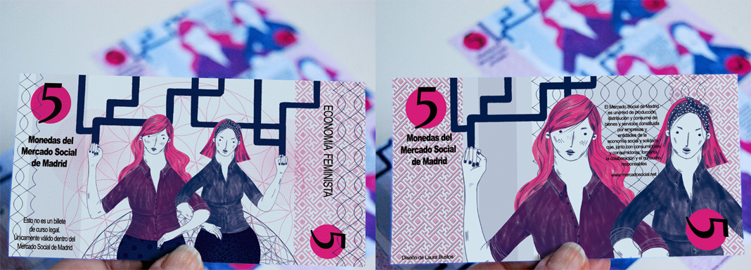 Diseño billete Mercado Social de Madrid. Laura Bustos