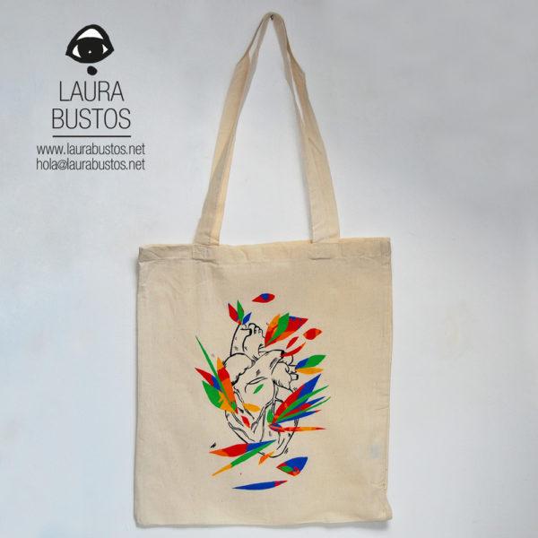 Tote Bag algodón orgánico. Feminista. Corazón