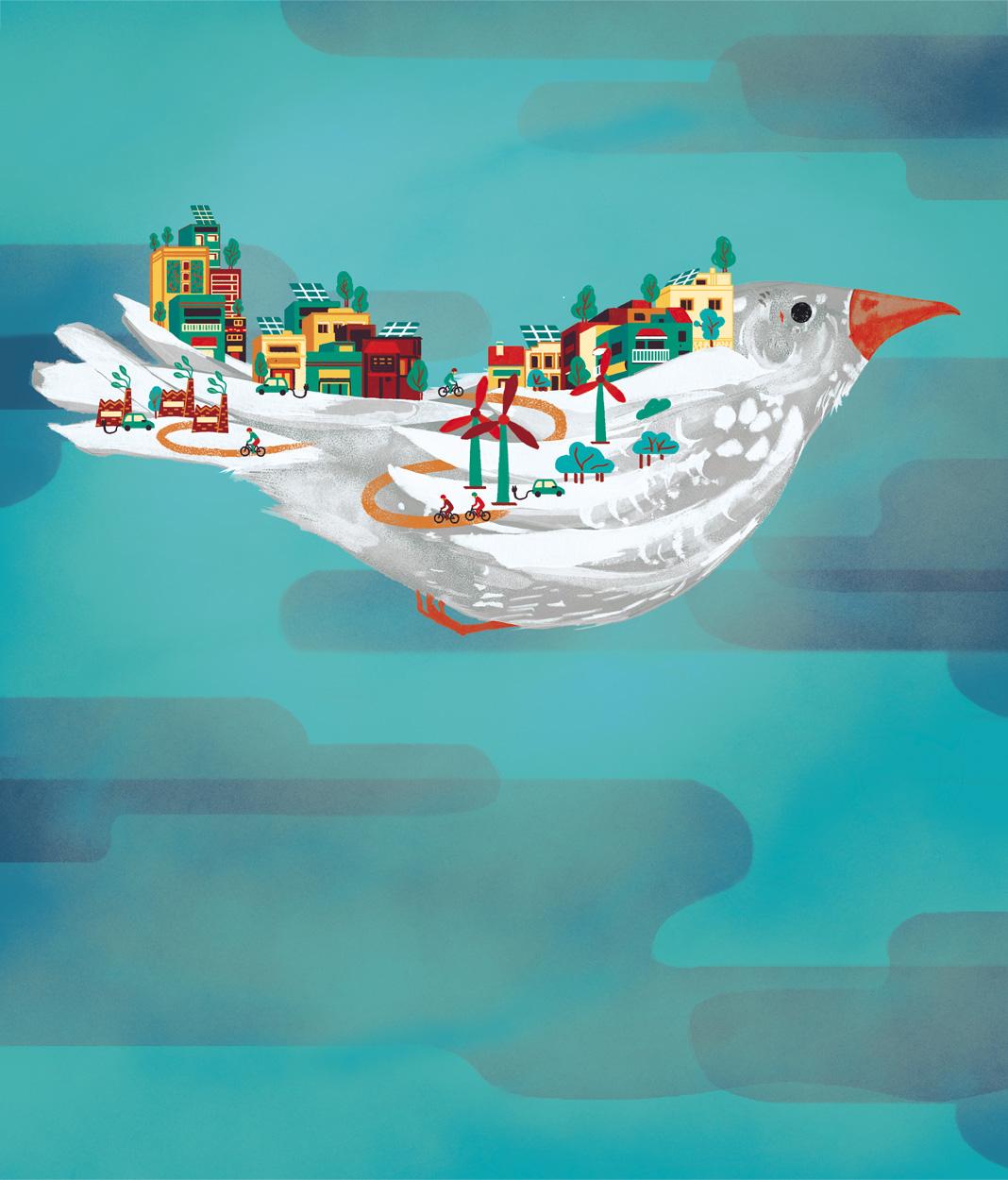 Paloma con cielo de fondo, ilustración cartel. Laura Bustos