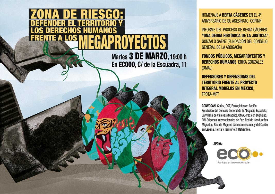Diseño de cartel, derechos humanos megaproyectos