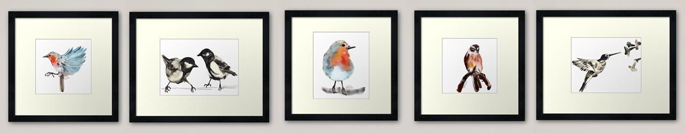 Prints, laminas de pájaros realizados con grafito acuarelable, redbubble