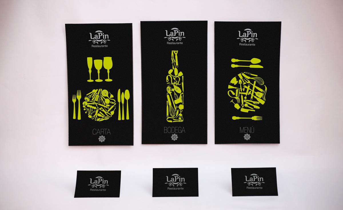 Diseño de imagen corporativa para restaurante tarjetas